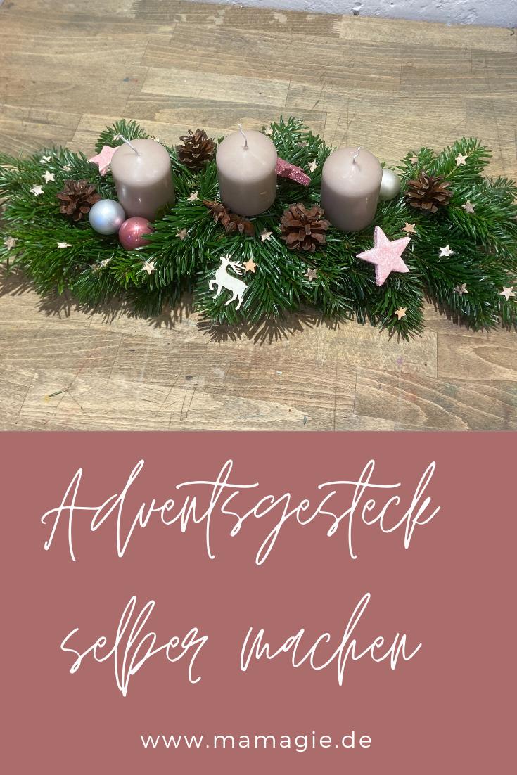 Längliches Adventsgesteck selber binden und gestalten