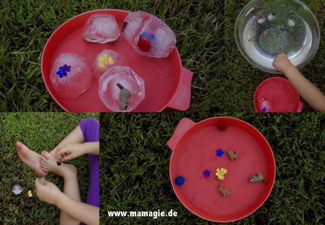 Eier aus Eis schmelzen, um an die Überraschung zu kommen