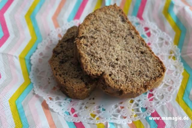 Rezept für leckeres Banana Bread mit Schokolade