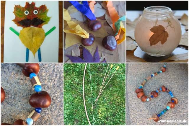 Mit Kindern mit Naturmaterialien im Herbst basteln
