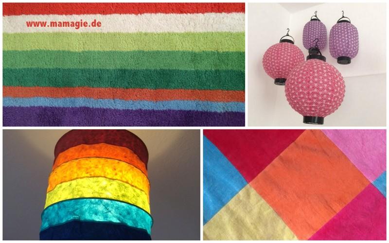 Lampen und Teppiche in bunten Farben