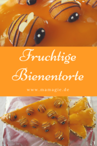 Torte mit Bienen aus Aprikosen oder Pfirsichen