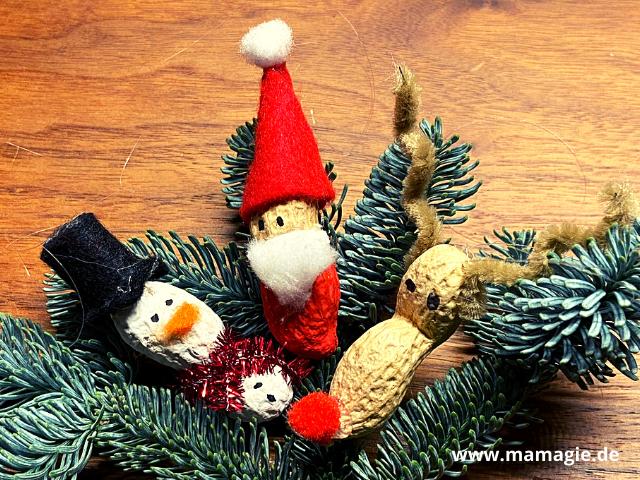 Weihnachtsmann, Nikolaus, Rentier und Schneemann aus Erdnuss