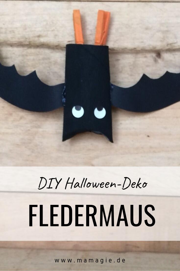 Fledermaus aus Klorolle als Halloween-Deko