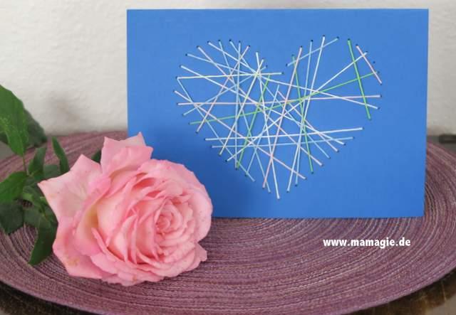 Selbstgemachte Karte zum Valentinstag
