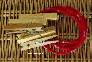 Seilbahn aus Schnur und Wäscheklammern