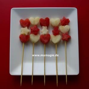 Spieße mit Herzen, Sternen etc. aus Wasser- und Zuckermelone