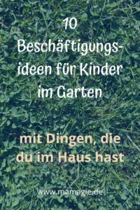 Kinder im Garten beschäftigen
