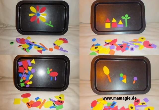 Magnetspiel aus Moosgummi und Kinderbackblech