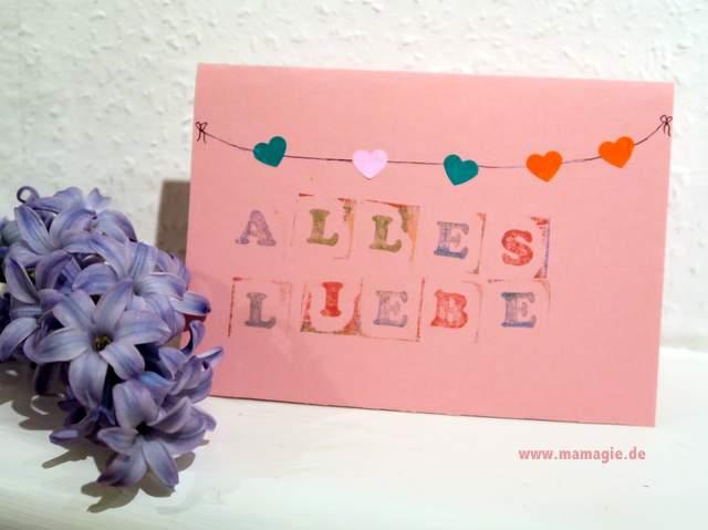 Gestempelte Valentinskarte