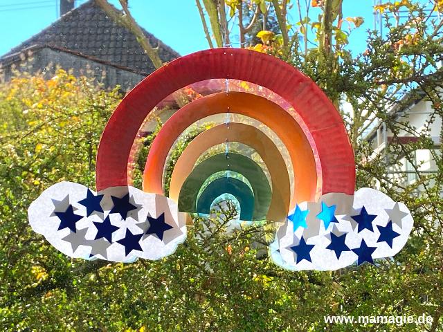Regenbogen-Mobile aus Pappteller