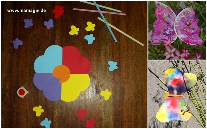 Schmetterling aus Papptellern, Schmetterling aus Filtertüte, Schmetterlingsspiel