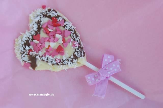 Schoko-Herz am Stiel aus Schokolade