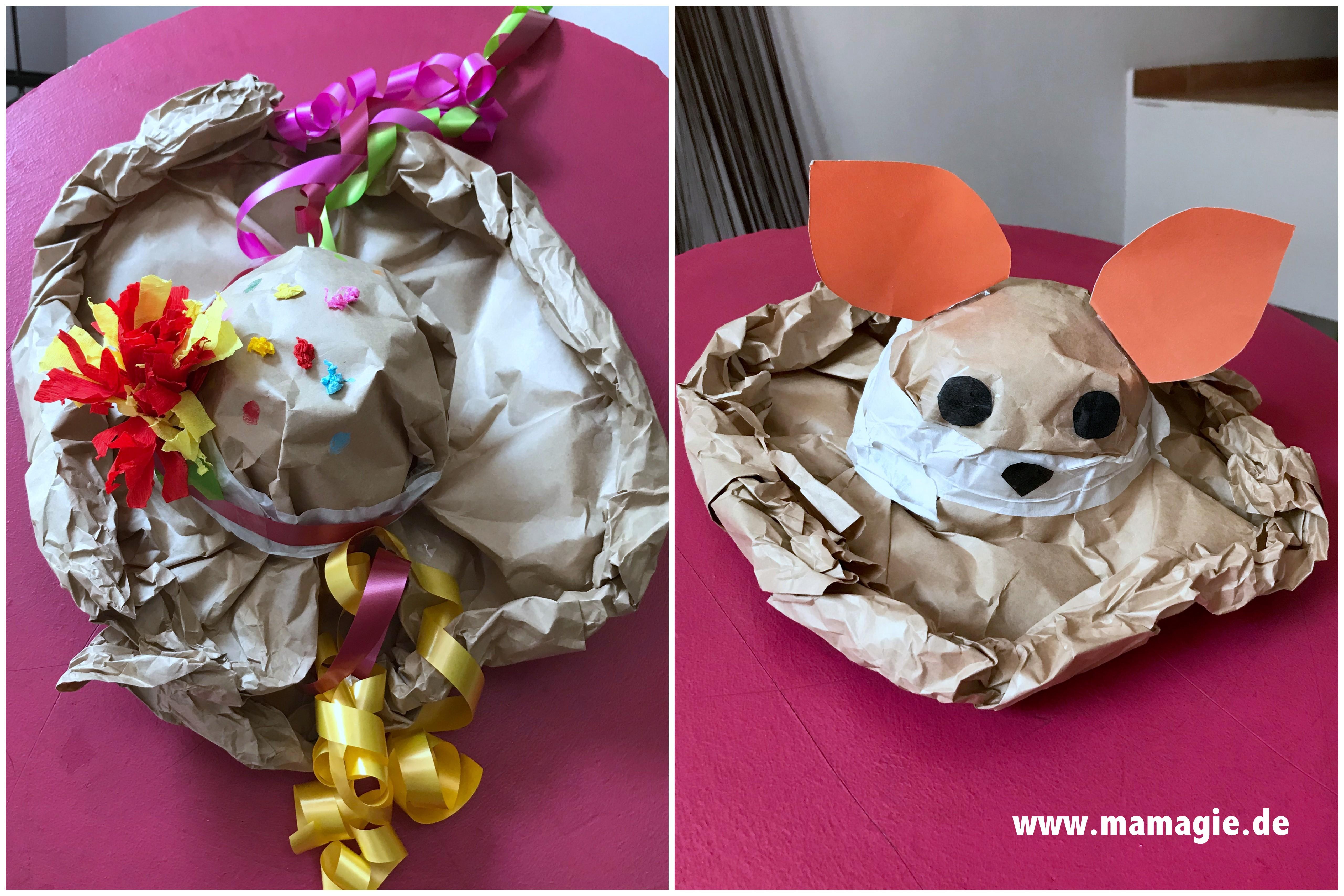 Tierhut oder Sonnenhut aus Packpapier mit Kindern basteln