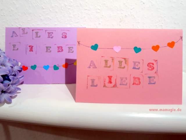 DIY Karten für Valentinstag oder Muttertag