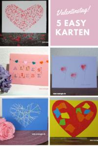 schnell gebastelte Karten zum Valentinstag