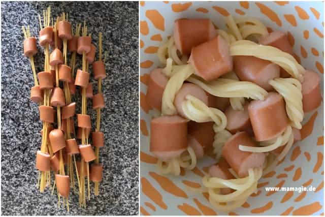 Ketten aus Spaghetti und Würstchen für Kinder