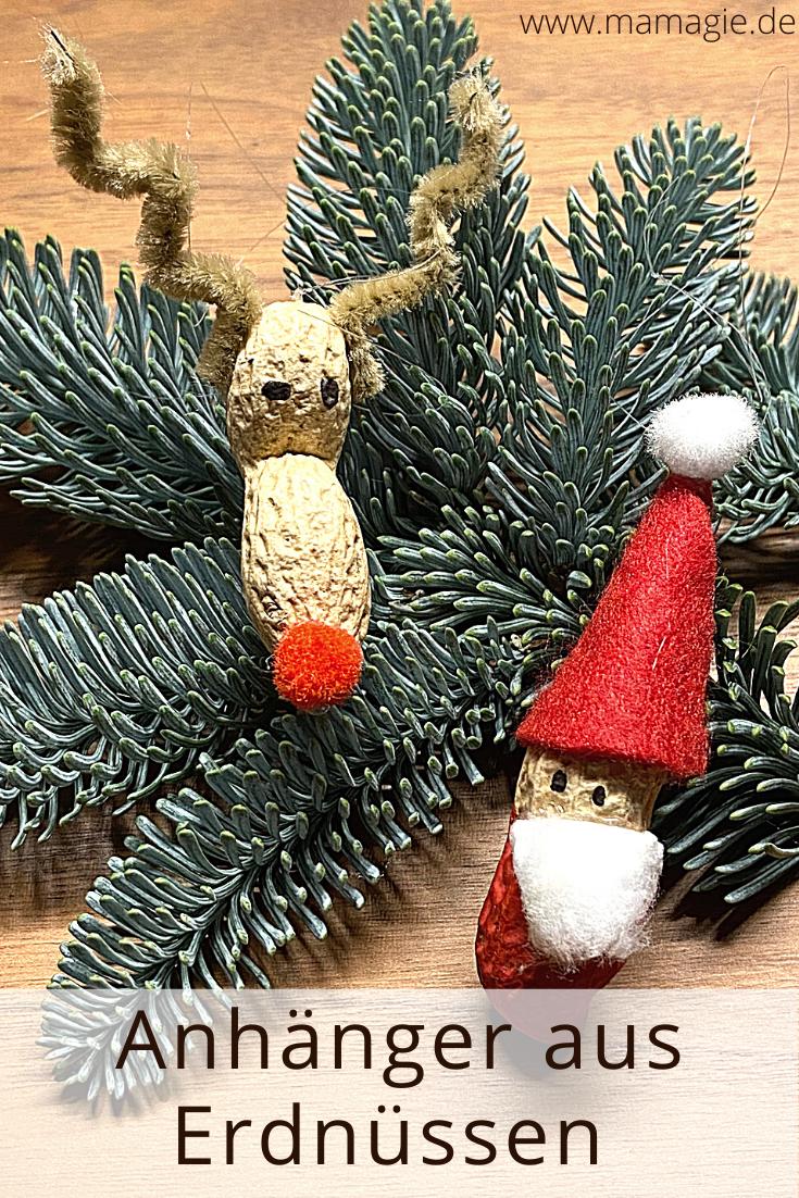 DIY Anhänger für den Christbaum aus Erdnüssen