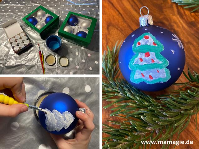 Selbstbemalte Weihnachtskugel als DIY Geschenk von den Kindern