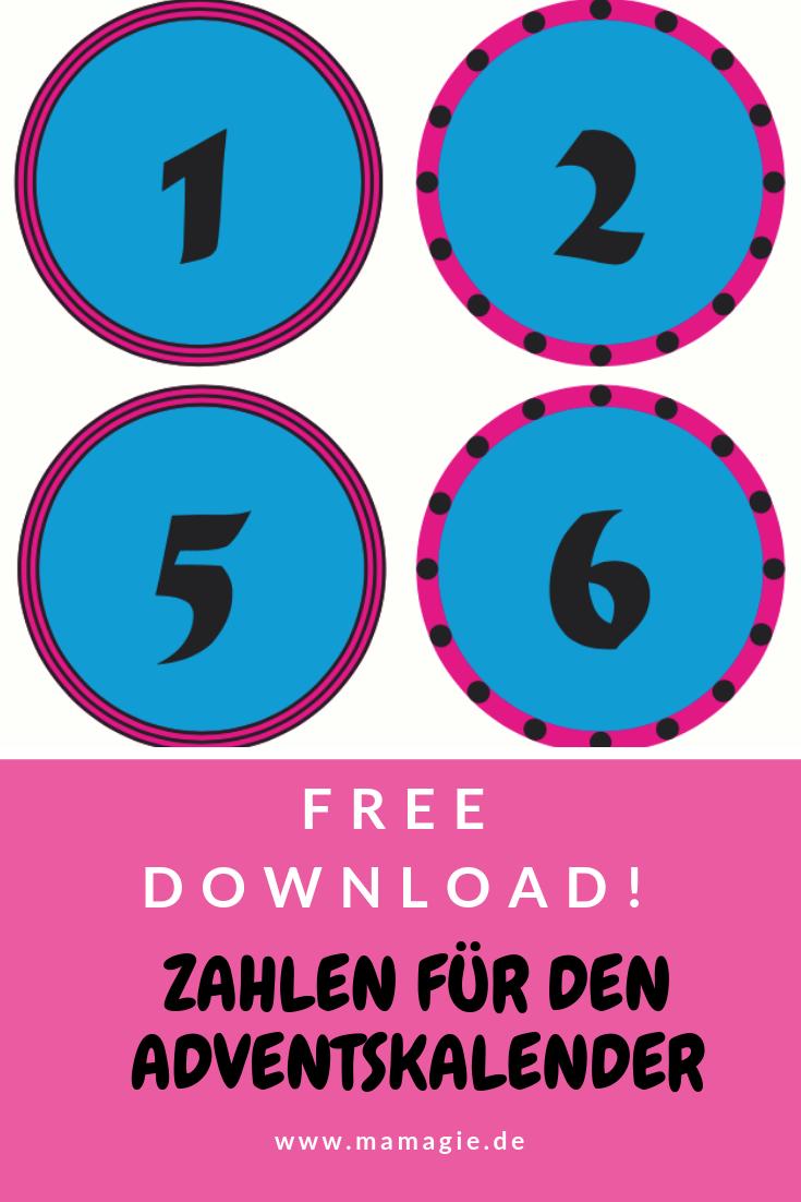 Kostenloser Download: Adventskalenderzahlen