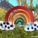 Pappteller-Regenbogen der Hoffnung